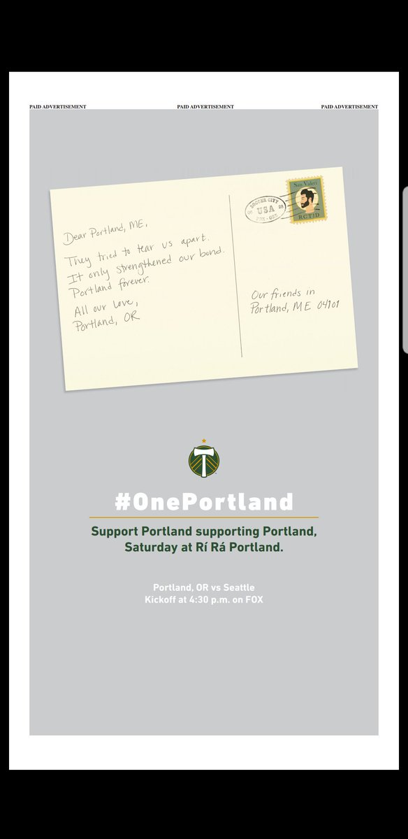 We have never, ever tweeted a picture of one of our advertisements. However. Our special thanks go out to  for placing this absolute beauty today.   #OnePortland #RCTID