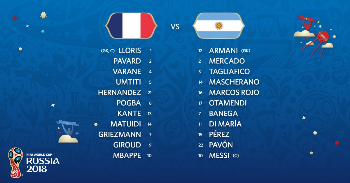 TEAM NEWS!   Here are the Starting XIs for #FRA and #ARG 👀  #FRAARG