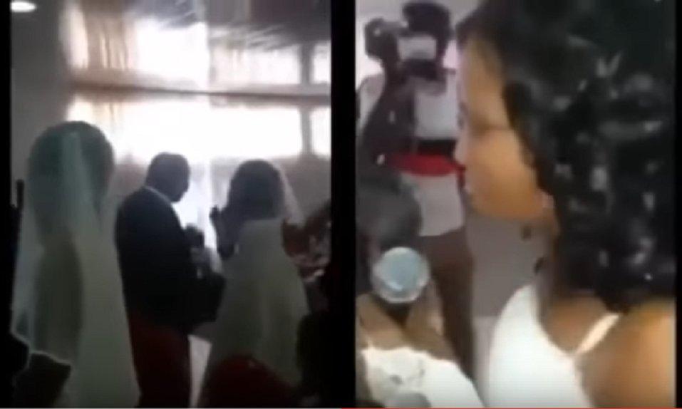 Mujer vestida de novia interrumpe