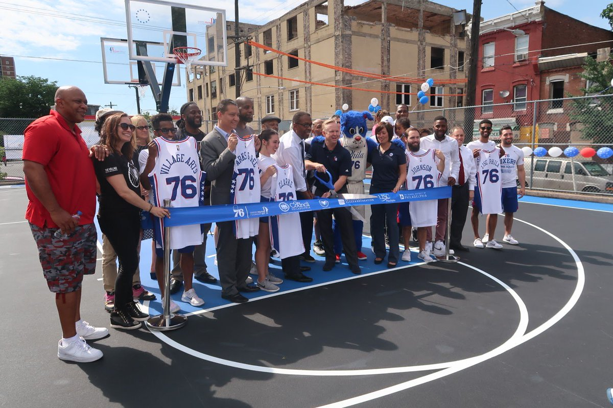 .@SixersStrong helps cut the ribbon at revitalized Hartranft Court in North Philadelphia. 📝 » sixe.rs/01x5 | #Summer76