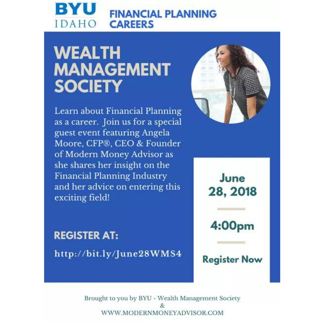 Thank You BYU for allowing me to speak to students about Careers in Financial Planning.  Thank you Daniel Casperson for inviting me to speak with the Wealth Management Society students.  I enjoyed it and the response was great!! #modernmoneyadvisor #speaking #seminars #workshops
