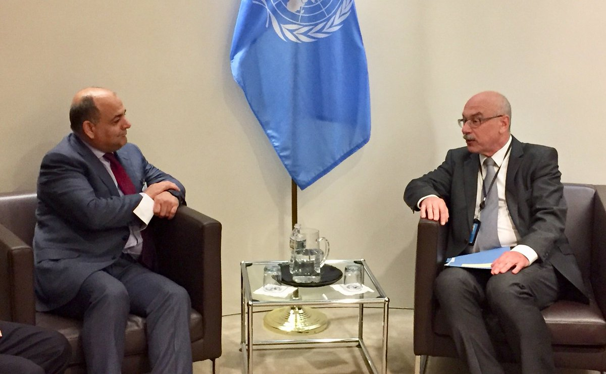 Afghan Minister of Interior H.E. @waisbarmak meets UN Under-Secreatry General Vladmir Voronkov, Head of Office of Counter-Terrorism (OCT). #Afghanistan welcomes the establishment of OCT and looks forward to effective engagement with it. #UNitetoCounterTerrorism