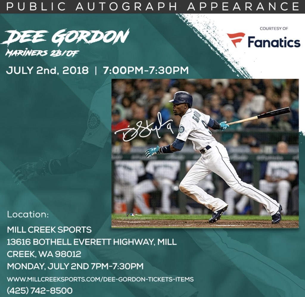 I'll be with my boys Edwin Diaz,  @ncboomstick23 and @James_Paxton signing @millcreeksports on Monday, July 2nd. Hope to see @Mariners nation out! Appearance c/o @Fanatics #rep1baseball