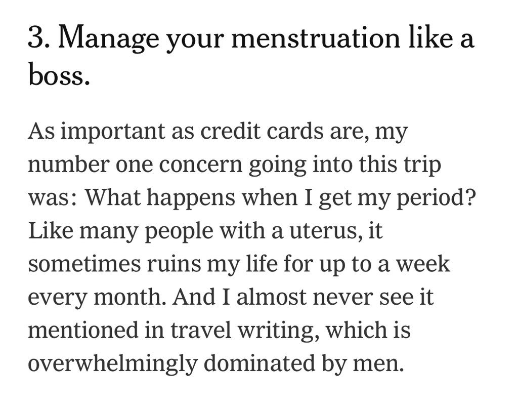 Getting 3 paragraphs on managing my period into the @nytimes = one of the prouder moments of this #52places2018 trip. https://t.co/l3T9WKbTU0