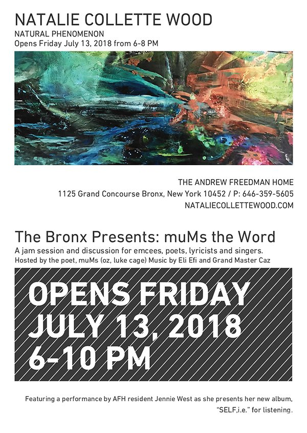 #NaturalPhenomenon + The Bronx Presents: muMs the Word @AFHBronx | Opens FRIDAY July 13, 6-10 PM in The Andrew Freedman Home - 1125 Grand Concourse, #Bronx, NY 10452 - https://mailchi.mp/168c60b0eb86/natural-phenomenon-the-bronx-presents-mums-the-word-at-afh-opens-friday-july-13th-6-10-pm…  #AFHBronx #NewYorkCity #NewYork #NYC #NY #Art #Nature #Exhibition #Poetry #Jam #Sessionpic.twitter.com/9wLmGAeFIL  by The Andrew Freedman Home