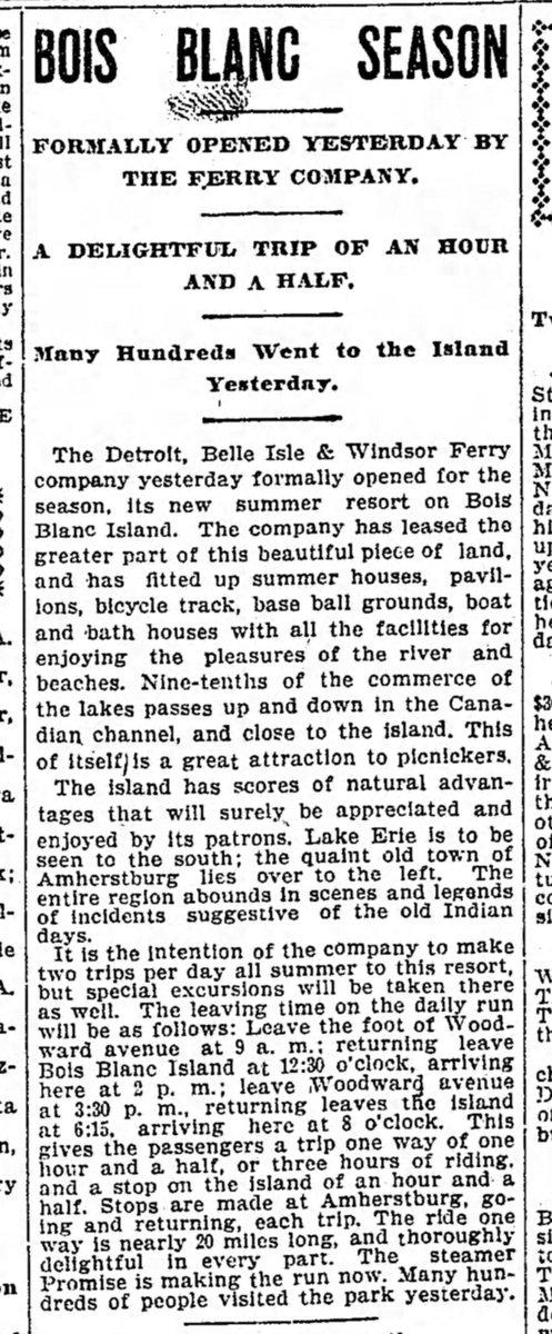 1898 : Bob-Lo Island Opens