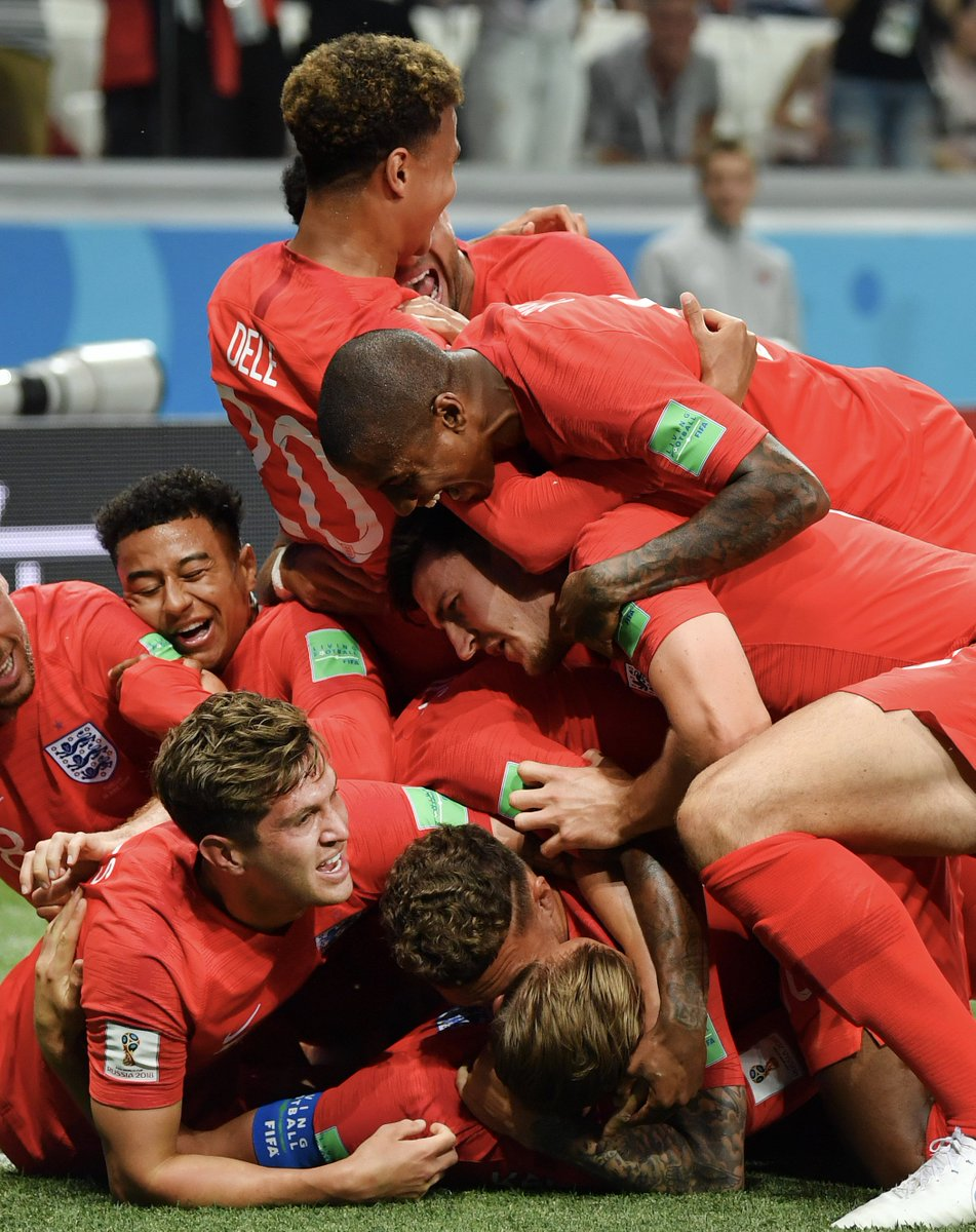 Pile on! 😆 @JesseLingard and @Youngy18 join the celebrations during @England's win over Tunisia. #MUFC #WorldCup