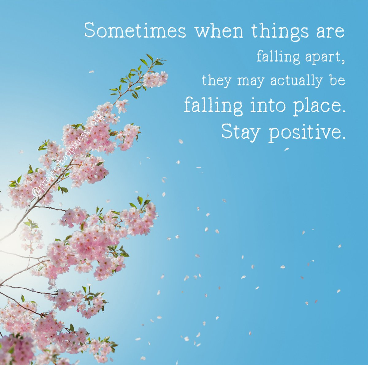 &quot;Sometimes when things are falling apart, they may actually be falling into place. Stay positive.&quot;  Strengthen your brain&#39;s ability to pay attention to the positive.   #projecthappiness #mindfulmonday #motivation  @AndersJilden<br>http://pic.twitter.com/9do4R3o4HO