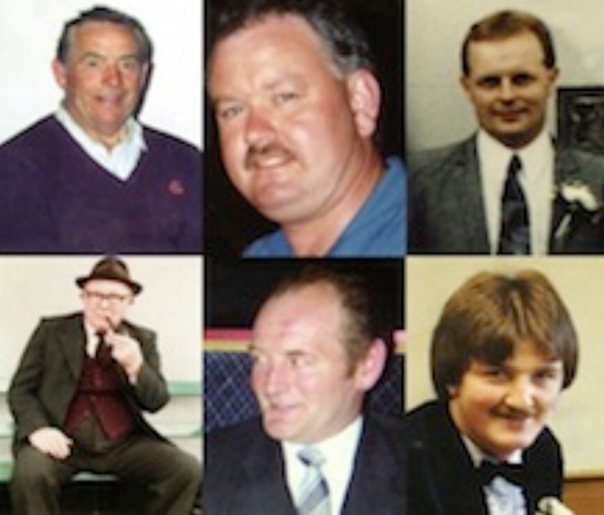 Adrian Rogan (34),  Malcolm Jenkinson (52),  Barney Green (87),  Daniel McCreanor (59),  Patrick O&#39;Hare (35) Eamon Byrne (39), No cause was advanced or could ever be advanced by this butchery of innocent Catholics. #Loughinisland<br>http://pic.twitter.com/nz6pwnRyRi
