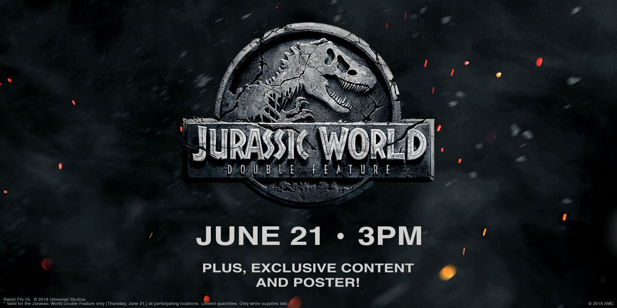 This Thursday, catch twice the dino action at our #JurassicWorld Double Feature! Get tix now: amc.film/2sp5QPS