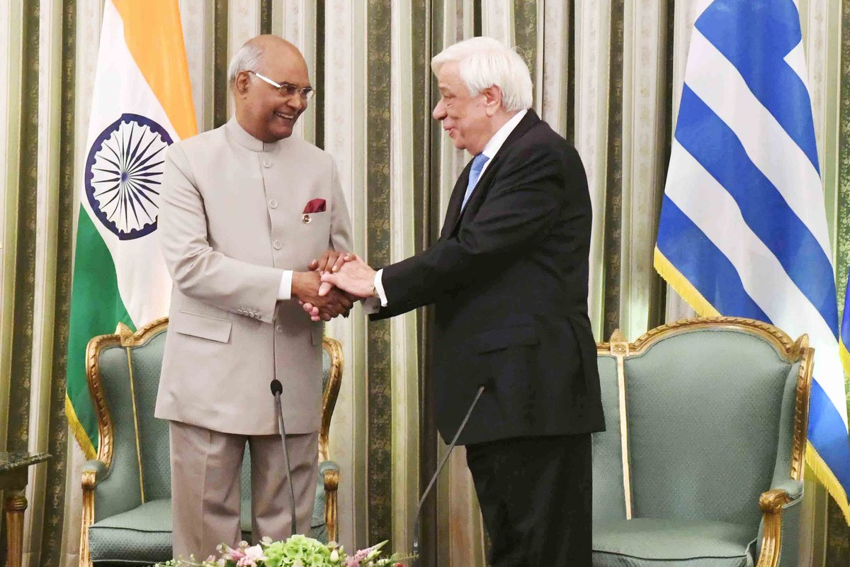 President #RamNathKovind says India's ties with Greece are very ancient and special
