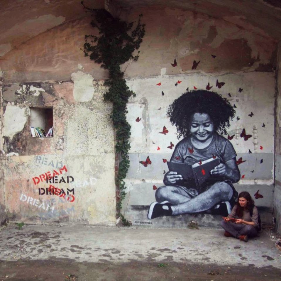 Dream. Read. Dream. Yes! Street artists are dedicated promoters of books. This work is by Jef Aerosol for the In Situ Art Festival in Fort d'Aubervilliers, Paris. There's even a little bookshelf included. #amwriting #indieauthor #writerslife #streetart<br>http://pic.twitter.com/weB937bUVx