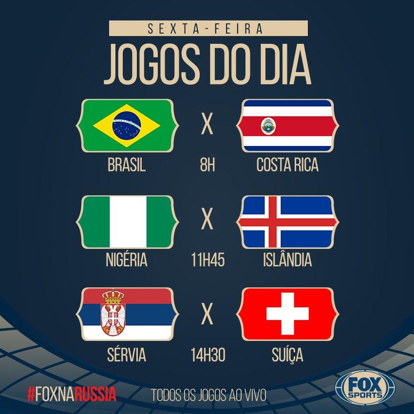 É HOOOOOOOJE! Essas são as partidas desta sexta na Copa, e você assiste tudo nos canais FOX Sports. #FOXnaRússia