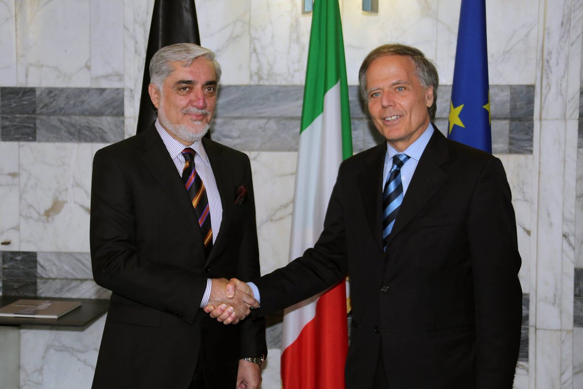 Chief Executive Dr. Abdullah met with Enzo Moavero Milanesi Italian Minister of Foreign Affairs for discussions on longterm military partnership within the @ResoluteSupport mission and support for Afghan peace talks, elections and reforms agenda.