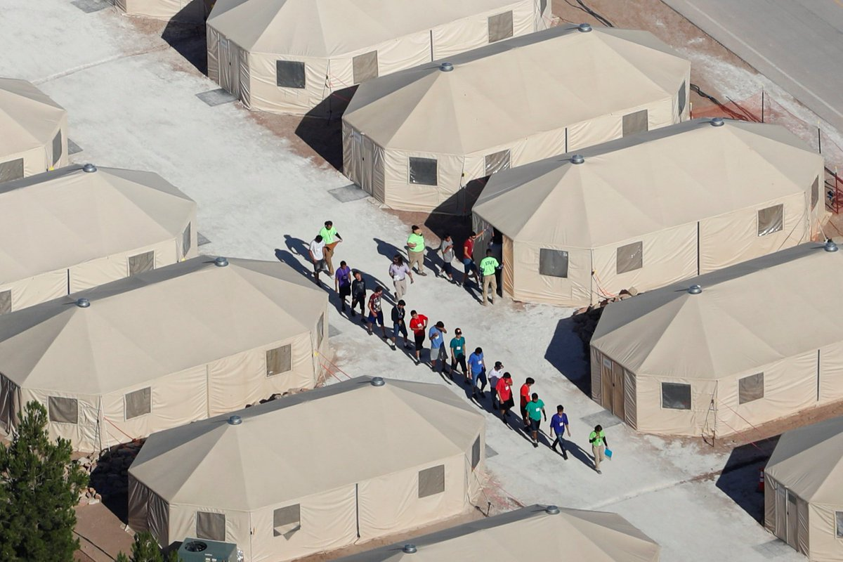 Up to 200 children separated from their parents at the U.S.-Mexico border are being held in this tent city outside Tornillo, Texas: