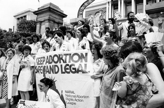 Demonstrators stand on the steps of the Massachusetts State House during a pro-choice rally in Boston, June 18, 1979. Photo: George Rizer/Globe Staff via @BostonGlobe archives #OnThisDay #mapoli Photo