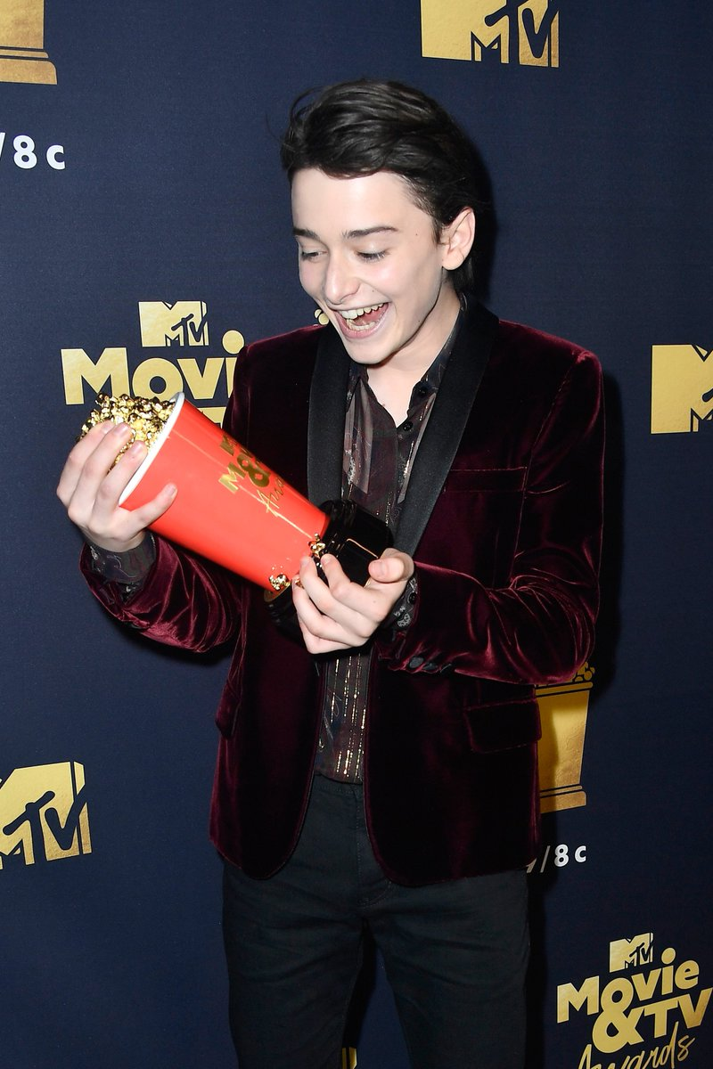 Just when you think @noah_schnapp can't get any cuter... 😭💕 #MTVAwards