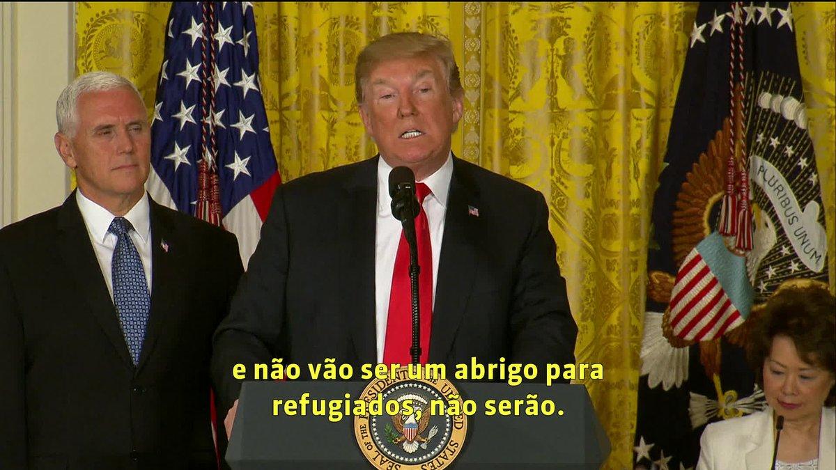 Trump diz que EUA não são abrigo de refugiados. Donald Trump defendeu a política de tolerância zero do governo, que já separou duas mil crianças das famílias de imigrantes ilegais na fronteira em apenas seis semanas: https://t.co/2cZlyAkDTE #GloboNews