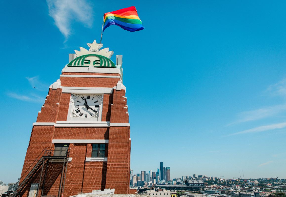 Rainbow flag flies proudly atop @Starbucks headquarters https://t.co/7MDC7GPCFl #Pride