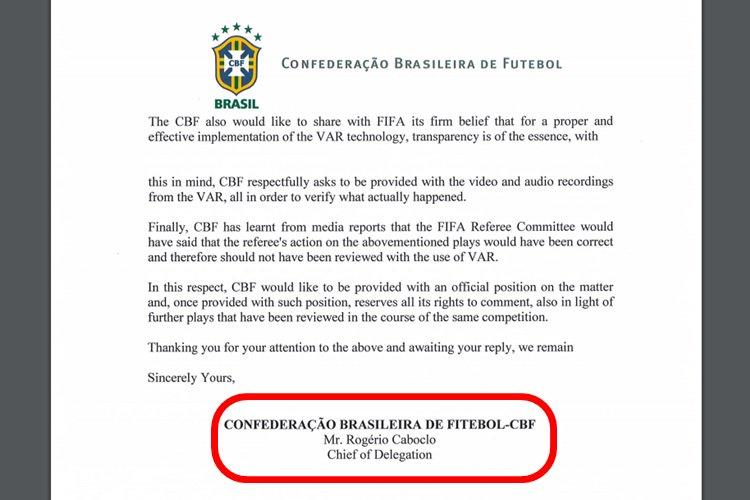 CBF erra o próprio nome em carta enviada à Fifa para questionar arbitragem https://t.co/JOCx2djxSf https://t.co/n41ey1hJVS