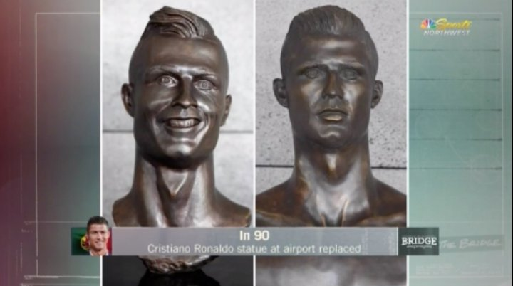 In 90: Cristiano Ronaldo statue at Madeira airport replaced  Thoughts? 🤔 #TheBridge ▶️ https://t.co/e175egXsIR