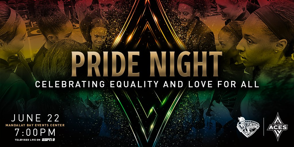 Love is Love ❤️🧡💛💚💙💜 Aces #Pride Night at The House 🌈🏀 🆚 @nyliberty 🗓 June 22 ⏱ 7 PM PT 📍 @MandalayBay Events Center 🎟 aceslv.co/PrideNight