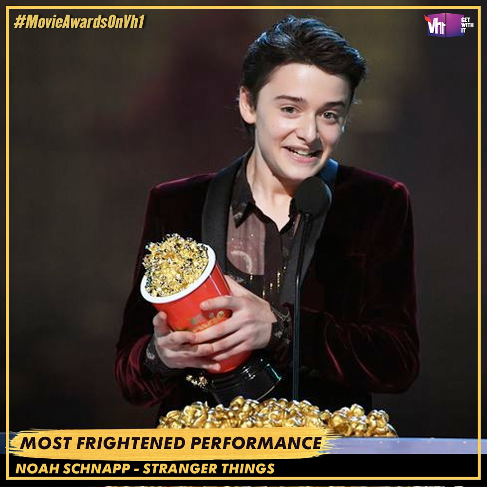 . @noah_schnapp takes home Most Frightened Performance at the #MTVAwards Any #StrangerThings fans in the house?! #MovieAwardsOnVh1 TUNE IN NOW
