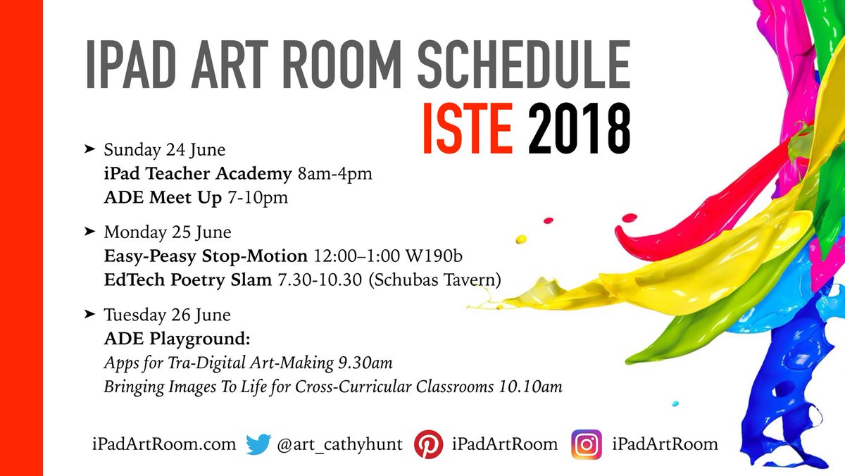 It's #ISTE18 this week!  Let's connect - here's where I'll be in Chicago 🇺🇸   #edtech #artsed #k12artchat #ADEdu