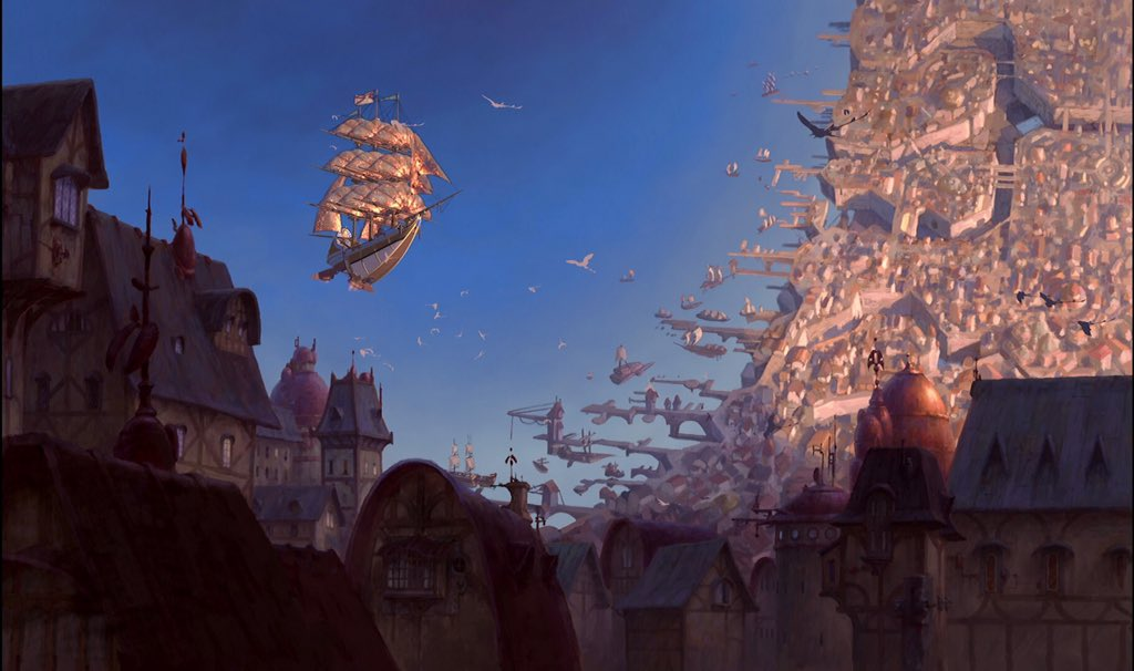 Treasure Planet is really one of the most under appreciated Disney animated films. The art and animation is absolutely stunning, a hybrid of both hand drawn animation and CGI. It's a beautiful rendered vision of outer space. <br>http://pic.twitter.com/6kQzZrKKOC