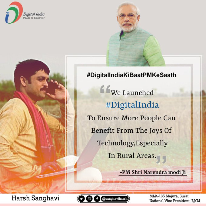 We launched Digital India with a very simple focus- to ensure more people can benefit from the Joys of technology, especially in rural areas: PM Shri @narendramodi Ji #TuesdayThoughts Photo