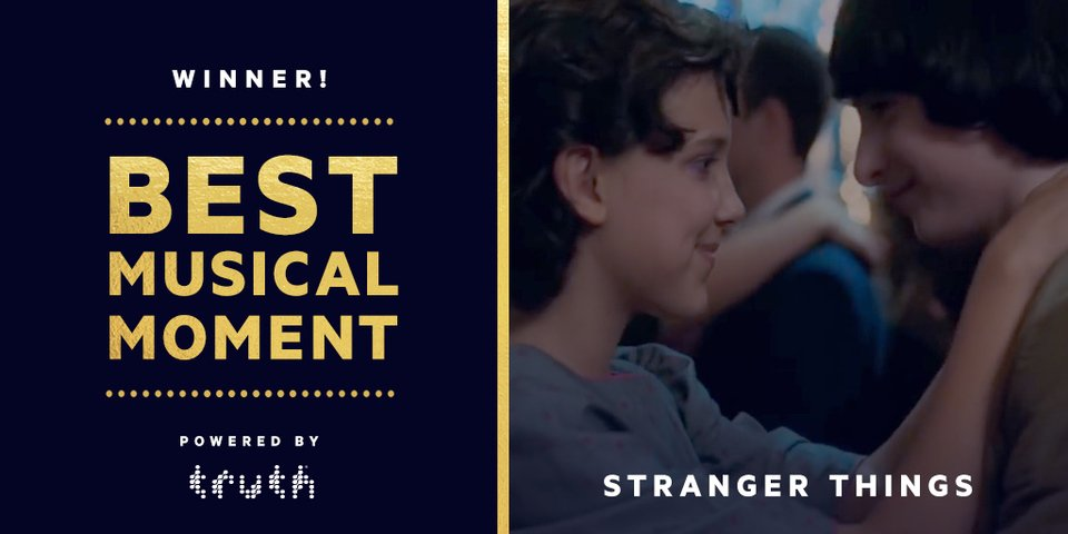 Congratulations to @Stranger_Things, the winner of Best Musical Moment at the @MTVAwards! https://t.co/NTG1t5K4MR