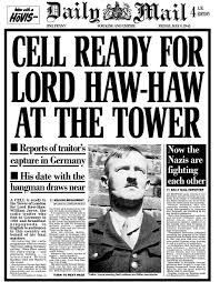 #onthisday in history William Lord Haw-Haw Joyce was charged with treason for being the voice of english language Nazi propaganda during WWII. He was sentenced to death. He was later turned into a meat wind chime by the British Crown as is befitting any Nazi. Photo