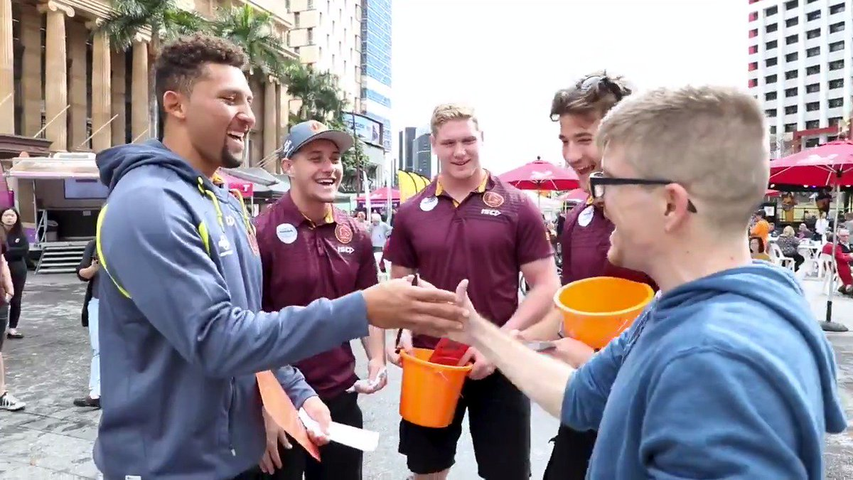 Gehamat Shibasaki, Troy Dargan, Tom Flegler, and Patrick Carrigan were out at the Brisbane Big City Barbecue to help fundraise for grassroots charities across Brisbane with @FoodBankQLD, meeting some Broncos fans along the way 😄