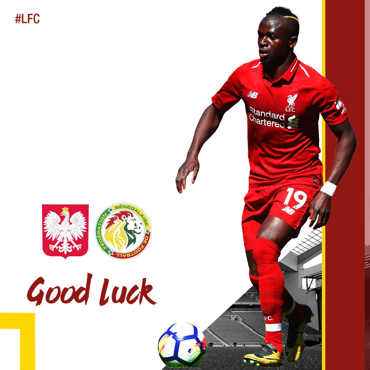Good luck to Sadio Mane and @MoSalah today. 👊👊  🇵🇱 vs 🇸🇳 (4pm BST) 🇷🇺 vs 🇪🇬 (7pm BST)  #WorldCup #LFC