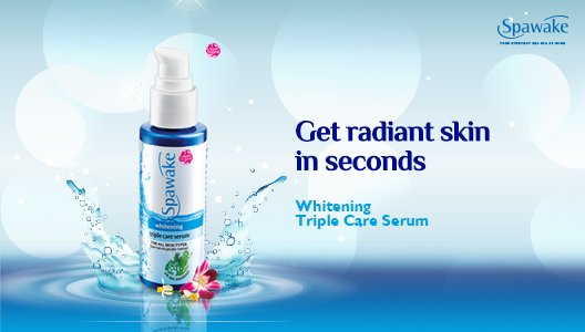 ... brightening complex, Whitening Triple Care Serum has whitening actives, Vitamin C, B3 and algae extract that give your skin the extra glow.