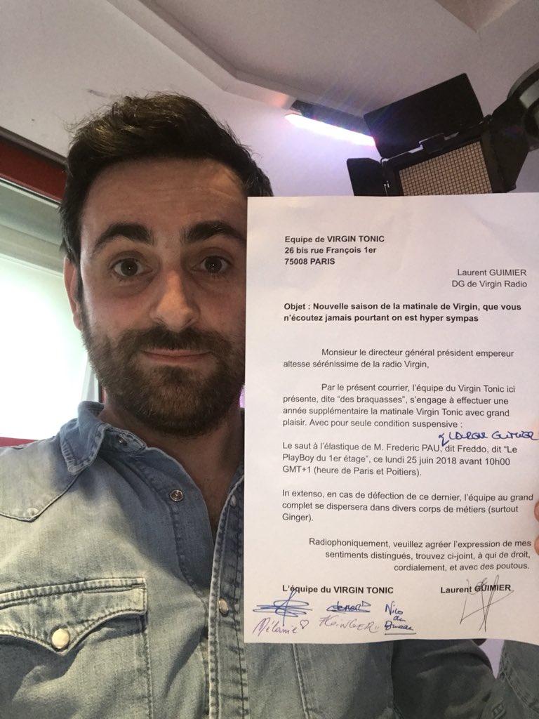 Le contrat est signé... 😂 Si @laurentguimier &  sau@FreddoPautent à l'élastique on se lève une année de plus avec vous dans  ...@VirginTonicOff 🕺🎙 Quel kif!!! ❤️