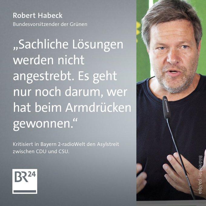 Den sogenannten Masterplan von Bundesinnenminister #Seehofer zur Asylpolitik hat Grünen-Chef @RobertHabeck in der @bayern2-radioWelt scharf kritisiert. Auch vom Unions-Kompromiss im #Asylstreit hält er wenig ➡️ Foto