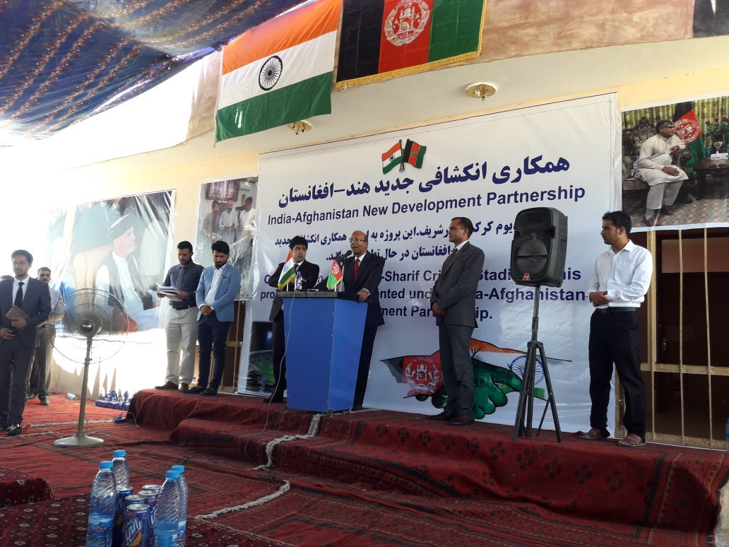 Ambassador @vkumar1969 speaks at the ground breaking ceremony of the Balkh cricket ground in Mazar-e-Sharif. As Secretary of Balkh Cricket Board said, we partner #India to ensure the youth picks up the cricket bat and drops the gun. @ACBofficials @indiandiplomats