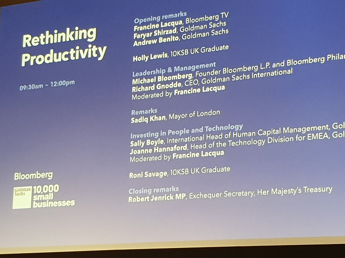 I&#39;m thrilled to be @bloomberg @GS10KSmallBiz event on Productivity, where I will be speaking later. #makesmallbig <br>http://pic.twitter.com/0bJLHr8cay