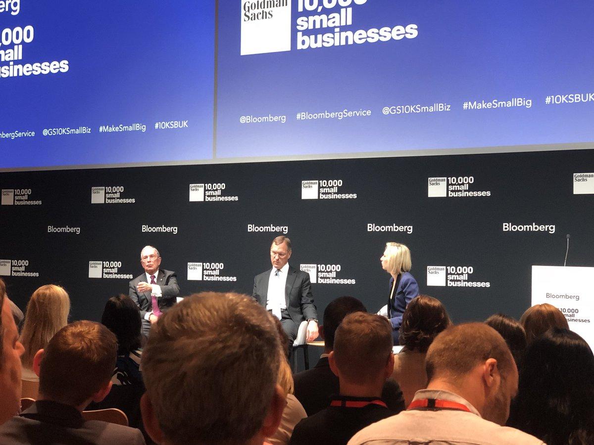Listening to Michael Bloomberg speak on productivity and leadership at @GS10KSmallBiz #makesmallbig #10KSBUK<br>http://pic.twitter.com/JlRDOLDh8n