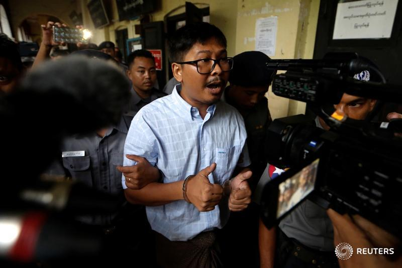 Myanmar officer in the case against @Reuters reporters Wa Lone and Kyaw Soe Oo broke police code by copying statements: lawyer  https:// reut.rs/2M2ZAFz  &nbsp;   See full coverage since the arrests  https:// reut.rs/2t8DB9b  &nbsp;  <br>http://pic.twitter.com/qRgBBhHbkC