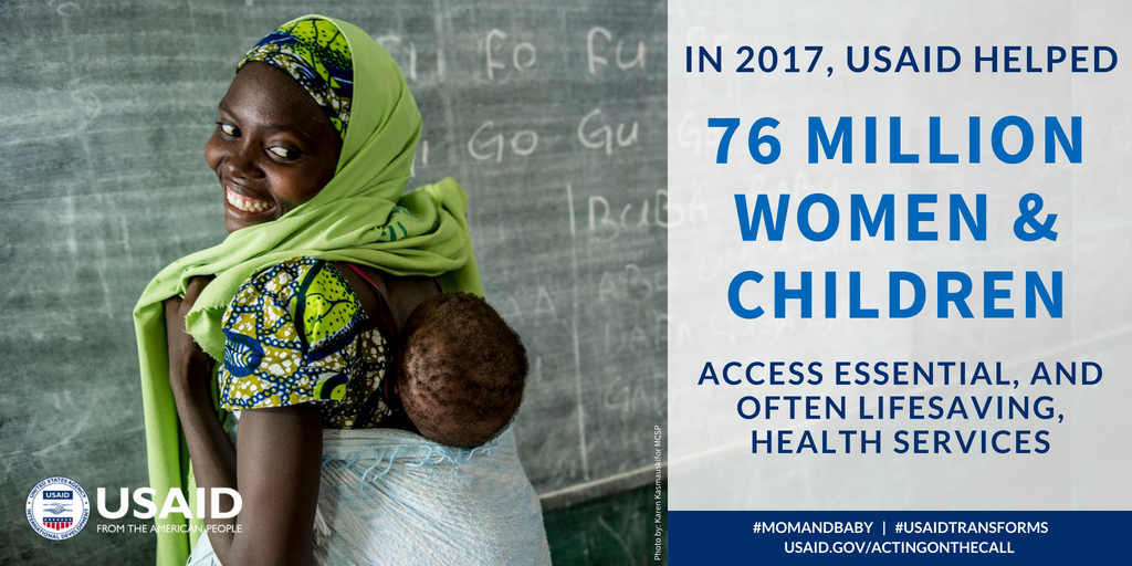 In 2017, @USAID helped 76 million women and children access essential — and often lifesaving — health services. Learn more in our new report: https://t.co/hcgGs3PoNp #MomAndBaby #USAIDTransforms