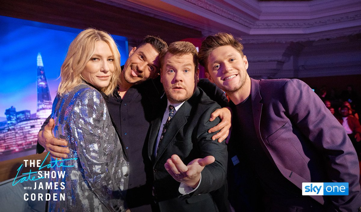 What a lineup! @JKCorden is joined by Cate Blanchett, Orlando Bloom and @NiallOfficial as he brings The @latelateshow to London. Join us at 10pm. 😀🇬🇧