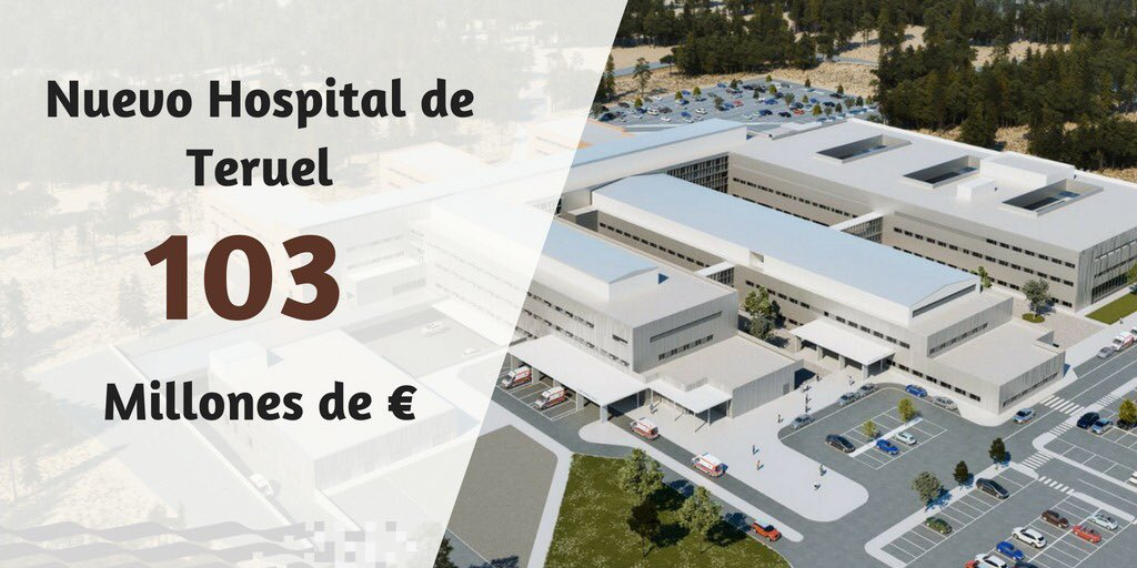 Una gran noticia para #Teruel: El Gobierno licita el Hospital de #Teruel por más de 103 millones de euros para atender a una población de cerca de 75.000 habitantes. Será la inversión más importante en esta legislatura. Avanzamos en el cumplimiento de los compromisos.