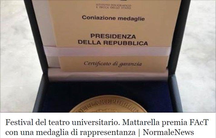 Parte con il vento in poppa il @factsns - Festival of Academic Theatre: il Presidente della Repubblica #SergioMattarella ha conferito agli organizzatori una medaglia di rappresentanza, con il suo augurio per la buona riuscita dell'iniziativa: https://bit.ly/2JZQrgv  - Ukustom