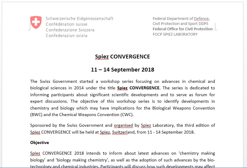 Malicious doc used in recent #OlympicDestroyer attacks references the Spiez Convergence conf: MD5: 0e7b32d23fbd6d62a593c234bafa2311 File Type: Microsoft Office Word Last saved date: 2018-05-14 15:32:17 (GMT) Known file name: Spiez CONVERGENCE.doc <br>http://pic.twitter.com/ScmQOwY3D7