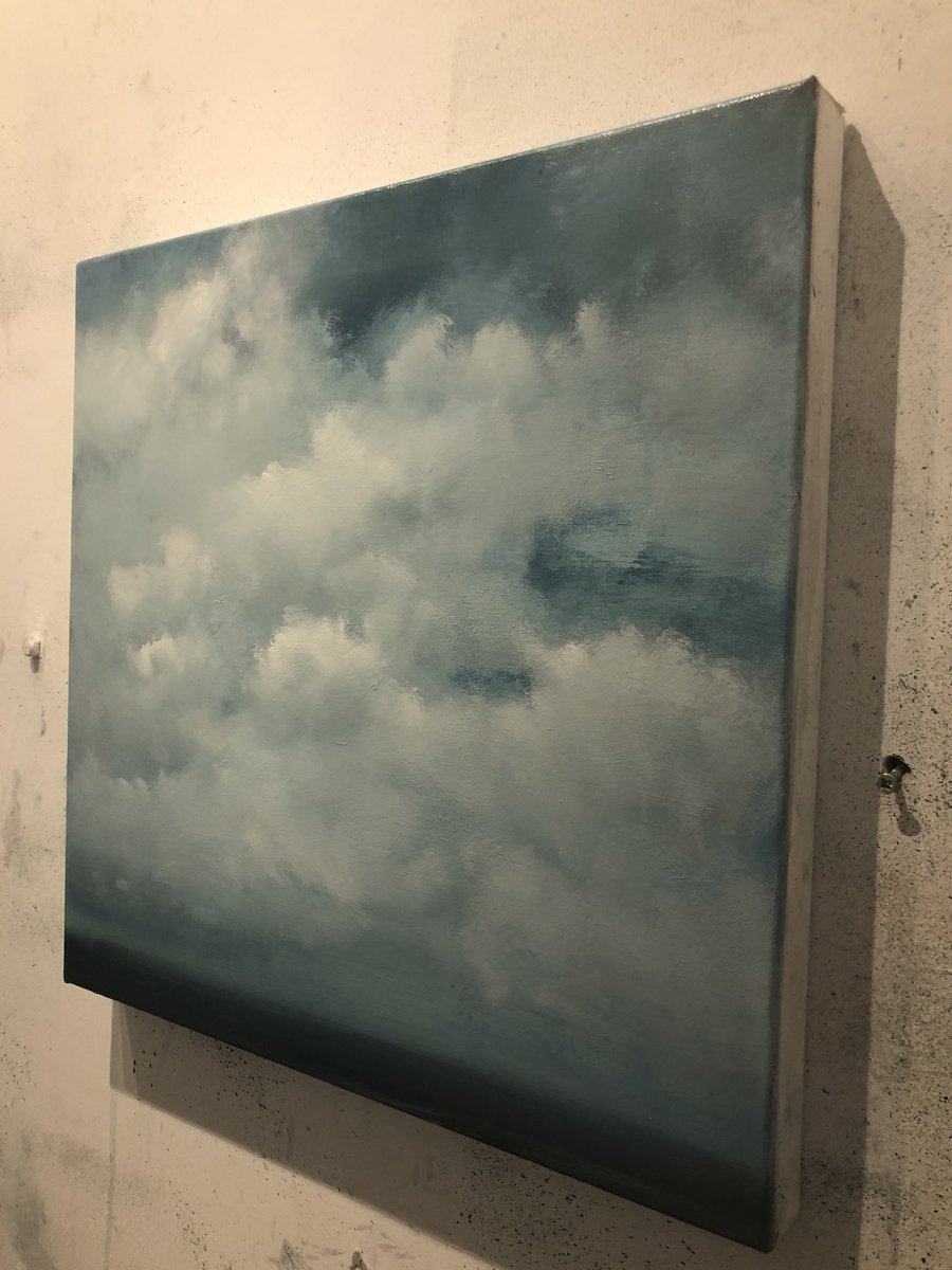 Another work in progress this is an painting from early this year I needed to resolve, will keeps its title 'Divergence' This is as close as you will ever see me paint a nice day !   #wip #oilpainting #englishchannel 40cm x 40cm #oiloncanvas #landscapepainting #abstract #clouds<br>http://pic.twitter.com/Zyv7vCq6Mg