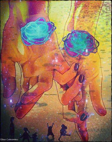 """""""Due mani che si cercano sono l'essenza di tutto il domani.""""             ~Andrè Breton~#frasiecolori #qingsu #VentagliDiparole #19giugno #martedi #art #digitalartist #love #BuongiornoATutti #ForteAmore  - Ukustom"""