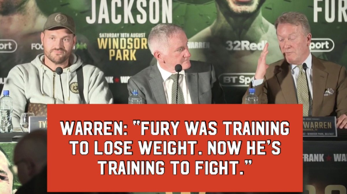 NOW HE'S TRAINING TO FIGHT AND NOT TRAINING TO LOSE WEIGHT 💪🥊 Frank Warren on how @tyson_fury's training will differ ahead of his second comeback fight on August 18th at Windsor Park 🏟