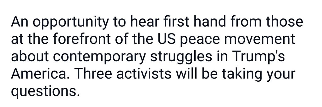 This Thursday 21st June in Leeds - US Peace Activists Speak Out.  'An opportunity to hear first hand from those at the forefront of the US peace movement about contemporary struggles in Trump's America.'  #peace #activism #protest #nonviolence #Trump #USA